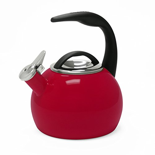 Polished Red Enamel - Chantal 40th Anniversary 2-Quart Enamel on Steel Teakettle, Chile Red