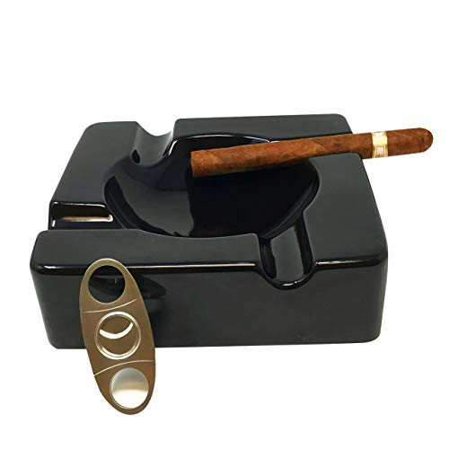 Cigar Ashtray Outdoors Ash Tray – 8.5 inch Ceramic Ashtrays Bundled with Cigar Cutter Stainless Steel – Black Glossy Cigar Rest for Indoor, Outdoor, Patio, Home, Office Use – Cigar Accessories Gifts