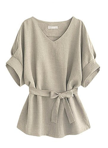 Tops T V Chauve Couleur Unie Col Tops Femmes Shirt Souris Casual Blouses Gris Manches Clair Bandage Chemisiers Hauts avec Fashion t xp8TqX