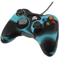 SODIAL(R) Funda Cubierta de Silicona Anti-reflejo para Controlador Xbox 360 (negro+azul)