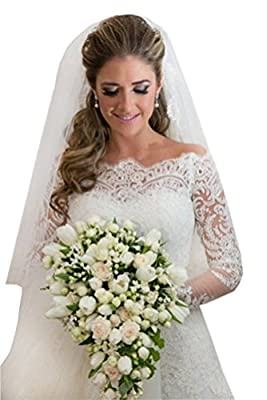 Tsbridal Lace Wedding Dress Long Sleeves Boat Neck Bridal Dresses
