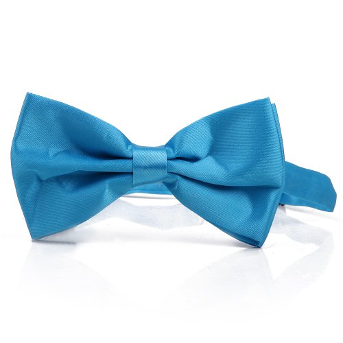[HDE Pre-tied Bowtie Adjustable Satin Polyester Bow Tie for Tuxedo Wedding Party and Other Occasions (Light] (Justin Timberlake Denim Costume)