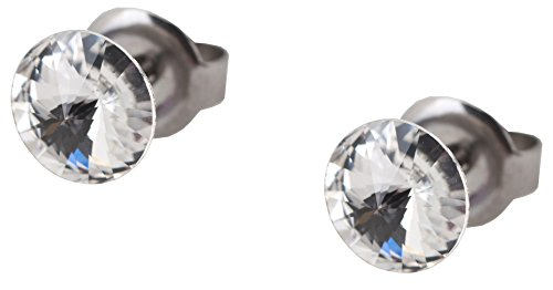 galaxyjewelry CRYSTAL White Titanium Post Earring Stud, No Allergic Reaction/6mm pair