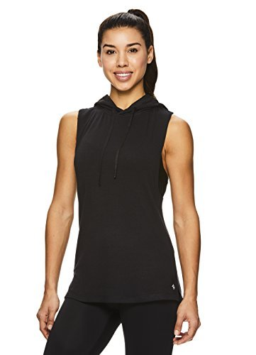 Nicole Miller Active Women's Mesh Hooded Racerback Workout Tank Top - Sleeveless Fitness Shirt - Laser Black, X-Small (Nicole Spandex Tunic)
