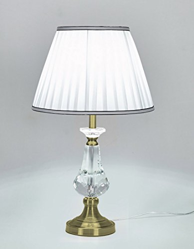Antique White Shade (Diamond Life 24-inch Antique Bronze Base Crystal Column Table Lamp with Fabric Shade, White)