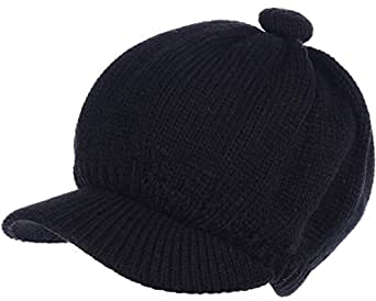 Be Your Own Style BYOS Womens Winter Plush Fleece Lined Newsboy Knit Cap Cabbie Hat & Gloves Set - Black - One Size