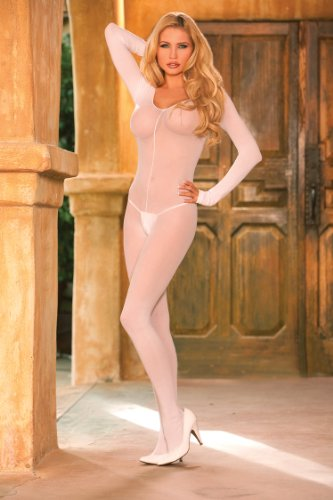 ELEGANT MOMENT 1606Q Opaque long sleeve open crotch bodystocking.