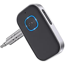 [2021 Upgraded] COMSOON Bluetooth 5.0 Receiver for Car, Noise Cancelling Bluetooth AUX Adapter, Bluetooth Music Receiver for Home Stereo, Wired Headphones, Hands-Free Calls(16H Battery Life/Dual Link)
