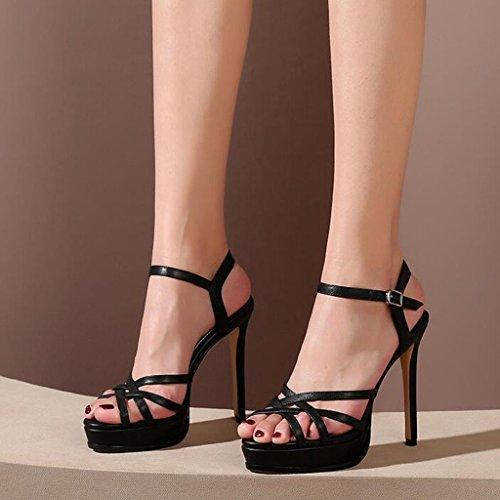 Sexy Chaussures CN35 Talons Sandales 5 Été Noir femmes à fins des Escarpin talons hauts UK3 EU36 MUMA taille Hwqv44