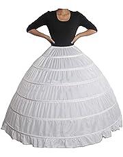 LovelyGirl 6 Hoop Petticoats Skirt Crinoline Slips Long Underskirt for Ball Gown Wedding Dress White