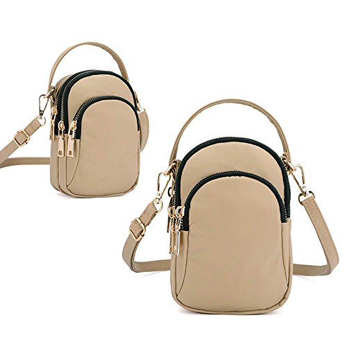 Women Bag Waterproof Crossbody Bag Mini Multi Slot Phone Solid Khaki Nylon Portable rU4wgqr