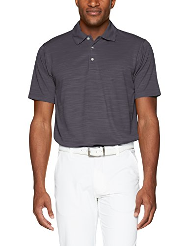 Men's Pebble Beach Golf Polo Shirt with Short Sleeve and Spacedyed Check Textured Design, Charcoal, X-Large