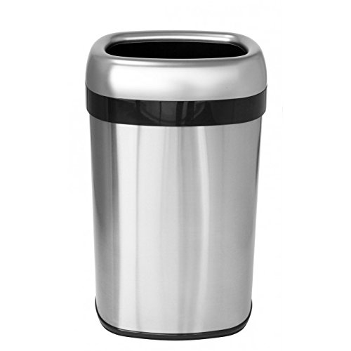 iTouchless Dual-Deodorizer Oval Open Top Trash Can, Commercial Grade, Stainless Steel, 16 gallon/60 Liter, 12-Inch Opening (Oval Garbage Can)