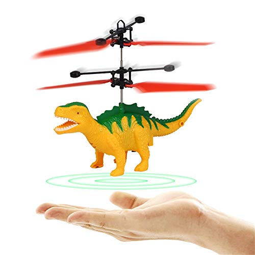 Induction Helicopter Toys,Vanvler Hand Flying UFO Smart Dinosaur Suspension Mini RC Aircraft LED Drone Christmas Gift (Yellow)