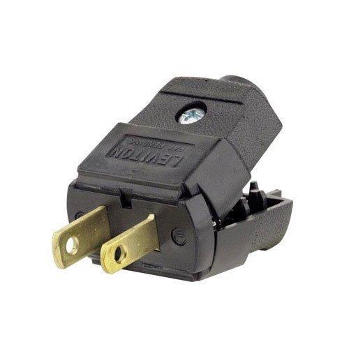 Leviton 101-EP 15 Amp, 125 Volt, Residential Grade, Polarized, Non-Grounding Plug, Black - 10 Pack