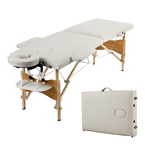 Soges Massage Table 73 inches Massage Bed Portable Spa Bed Folding Facial Bed Adjustable Lash Bed Tattoo Table with Headrest Armrest, White, KH2104S-WT