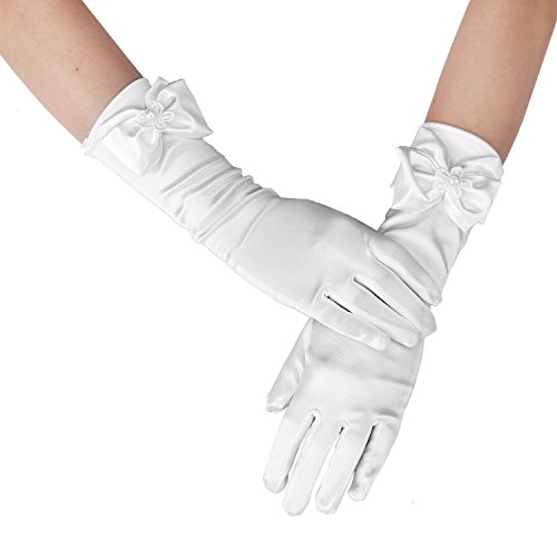 Long Satin Formal Gloves,Kids Size Full Finger with Pearl Bowknot for Girls Children Wedding Dress Evening Party Pageant,Elbow Length 10BL,White
