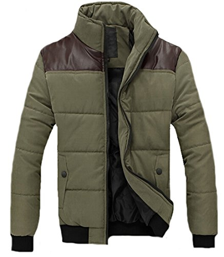 Mens Eku Cuciture In Casuale Cappotto Verde Piumino Tasca Xl Zip Pelle danrga
