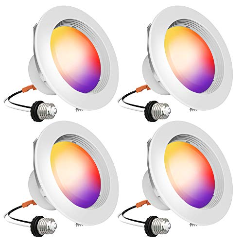 Smart Recessed Lighting - iLintek Bluetooth 4 Inch Led Downlight (Version 2.0) Color Changing Retrofit Fixture Tunable White Dimmable Compatible with Alexa Google Assistant Remotely Control