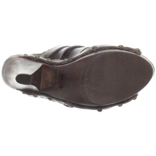 Dark Waxed Sandal Women's Stretch Platform Maxstudio Brown Aura wpOR6xFq