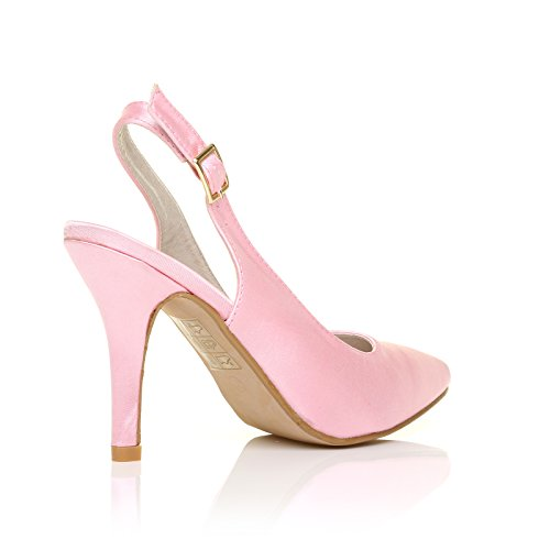 FAITH Baby Pink Satin Stiletto High Heel Slingback Bridal Court ...