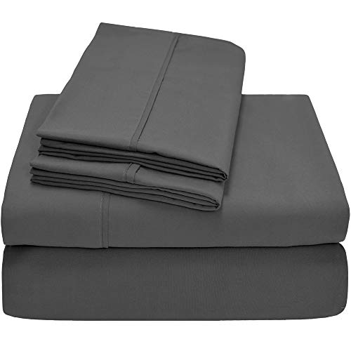 Bare Home Premium 1800 Ultra-Soft Microfiber Sheet Set Twin Extra Long - Double Brushed - Hypoallergenic - Wrinkle Resistant (Split Head Flex King, Grey) (Bare Head Heads)