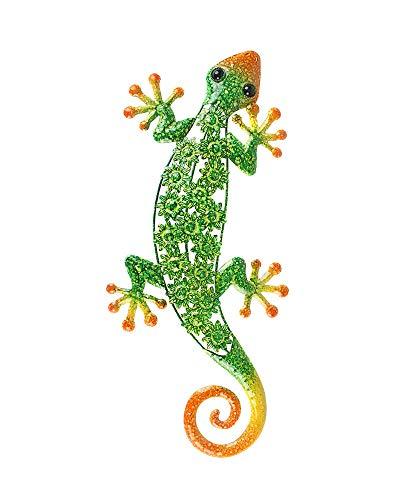 (Liffy Metal Gecko Wall Art Lizard Outdoor Decor Garden Decorations Green Orange, 20'' Long)