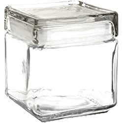 Anchor Hocking 85587R 1 Quart Stackable Square Clear Glass Storage Jar (Case of 4) 32 oz