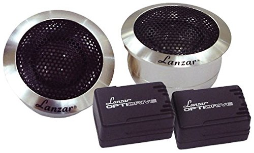 Lanzar Upgraded Optidrive 1'' Titanium Dome Tweeter Speaker Pair - Powerful 100 Watt Peak 1.2 - 25 kHz Frequency Response and 4 Ohm w/ Heavy Duty Aluminum Housing and 3 Mounting Option - (100w Super Tweeter)