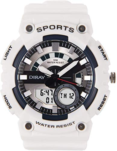 DIRAY Men's Digital Watch Dual Time Waterproof Outdoor Multifunction Sport Wrist Watches