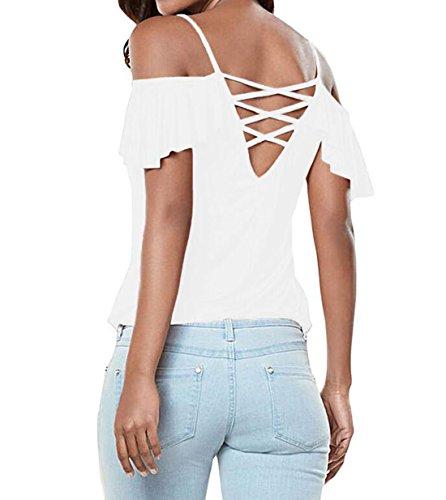 DINGANG - Camiseta - Cuello ala - para mujer blanco