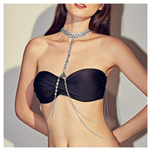 Fstrend Vantage Layered Body Chain Necklace Gorgeous Luxury Symbol Triangle Tassels Bikini Beach Crossover Bra Jewelry for Women and Girls (Silver)