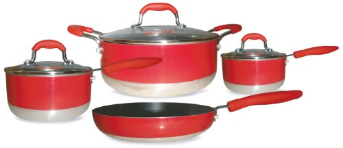 Gourmet Chef Induction Ready 7-Piece Non-Stick Cookware Set, Red (Organic Nonstick Cookware compare prices)