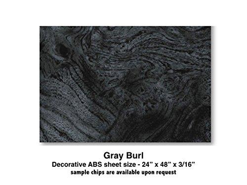 "Boat Dash Panel Blanks, Boat Instrument Panel Blanks / 24 x 48 x 3/16"" plastic woodgrain / Gray Burl"
