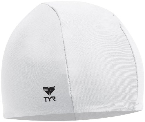 White Cap Swim Cap - TYR Lycra Swim Cap, White