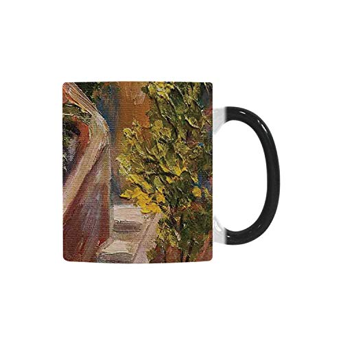 (Rustic Utility Morphing Mug,Terrace Flowers and Garden House Greece with Rustic Window Oil Painting for Home,10.3OZ)