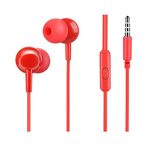 (REPOO Noise Isolating Wired in-Ear M14 Earphones with Mic and Volume Control Sweatproof Dynamic Drive Stereo Deep Bass Headphones, for Tablets PC Music Player and Cellphones Computer (Red))