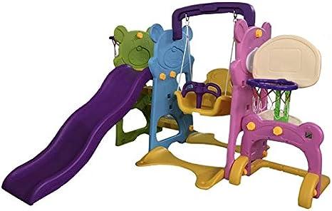 ATAA Parque Infantil 5 en 1 Parque Infantil para niños 5 en 1. Dos canastas, portería fútbol, Columpio y tobogán