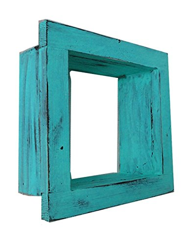 Square Wood / Wooden Shadow Box Display - 9'' x 9'' - Aqua - Decorative Reclaimed Distressed Vintage Appeal by IGC