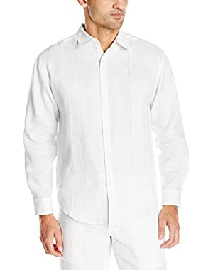 Men's Long Sleeve 100% Linen Essential Shirt with Eyelet Detail