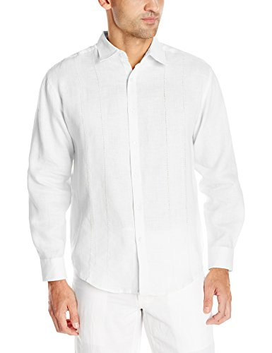 Cubavera Men's Embroidery Detailed Solid Linen Long Sleeve Woven Shirt, Bright White, X-Large