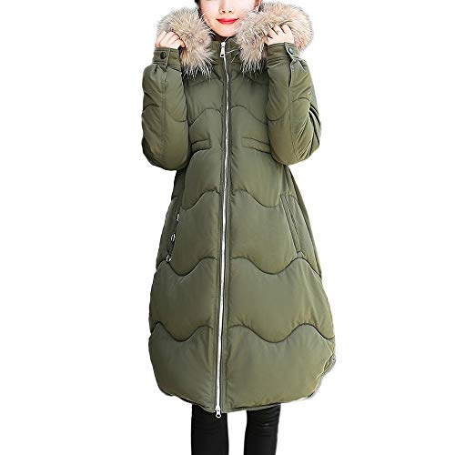 BETTERUU UFACE Women Outerwear Button Coat Long Cotton-Padded Jackets Pocket Fur Hooded ()