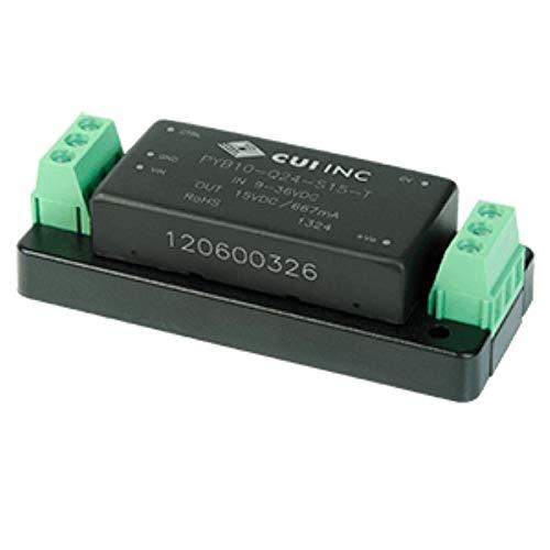 10 W, 4:1 Input Range, Single/Dual Regulated Output, Chassis Mount, 1500 Vdc Isolation, Dc-Dc Converter - 15/-15 Vdc, 0.33 A, 10 W, 18~75 Vdc Input Range - PYB10-Q48-D15-T