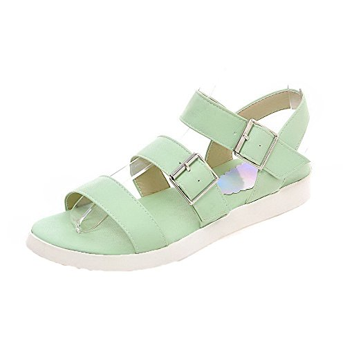 AalarDom Womens Buckle Open-Toe Low-Heels Solid Sandals LightGreen