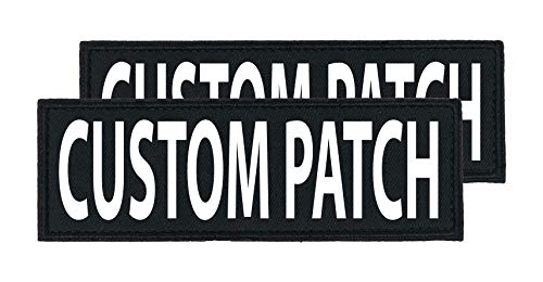 Dogline Custom Bright White Text Patch For Vest Harness Or Collar Customizable Text Personalized Patches with Hook Backing Name Service Dog In Training Emotional Support (1 patch) - 2' x 6'