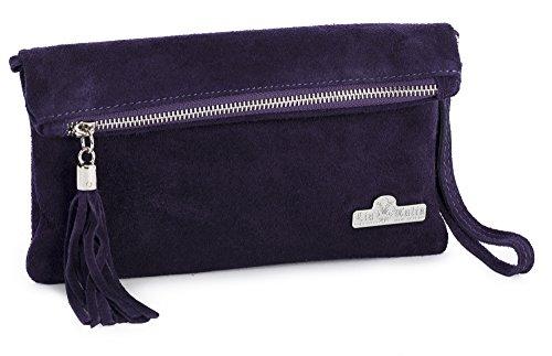 Wedding RUTH LIATALIA Deep Purple Bag Evening Purse Real Italian Leather Suede Clutch Party Womens Wristlet xxwO68
