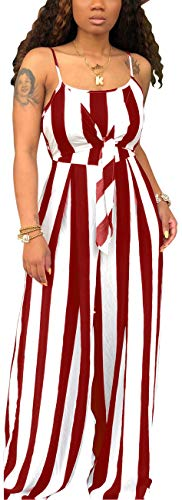 Women's Casual Wide Leg Long Palazzo Pants Summer Sexy Spaghetti Strap Striped Jumpsuits Loose Comfy Stretchy Outfits Tube Sleeveless Backless Cut Out Tie Front