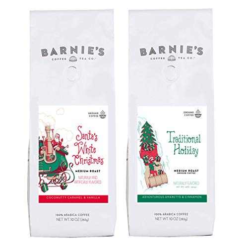 Barnies Holiday Flavors Ground Coffee Duo | Santas White Christmas, Traditional Holiday | Nut Free, Gluten Free, Fat Free | Medium Roasted Arabica Coffee Beans