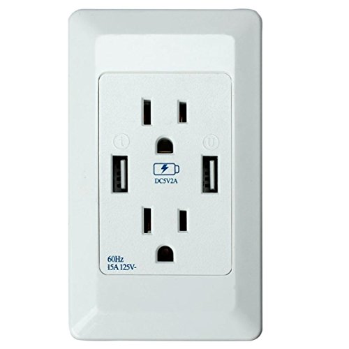 Alizzee Double 2 USB Security Charger Wall Plate Electric Charger Port Outlets, Jack Plug Adapter Wall Sockets Outlets