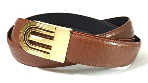 Iguana Grain - EDNA Bonded Leather Iguana Skin Print Dress Belt Amber